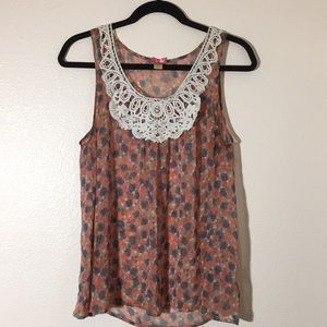 Downeast sleeveless blouse. Sheer, floral.